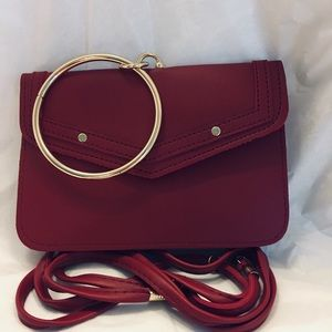 Ring handle crossbody handbag red faux leather bag